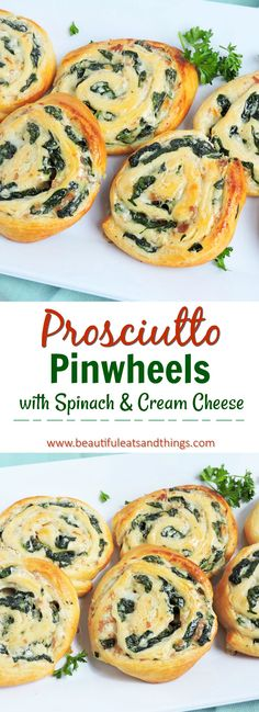 Super EASY appetizer to make for your next party! Spinach & Prosciutto Pinwheels! These are truly a crowd pleaser!  brunch   brunch ideas food   brunch menu ideas   easy appetizer recipes   healthy appetizers   brunch recipes   mother's day brunch ideas   spring brunch ideas   party recipes   party appetizers