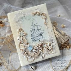 ^= ❤ * With Love by Alena Garmash * Mini Scrapbook Albums, Baby Scrapbook, Fabric Covered Canvas, Tarjetas Pop Up, Nautical Cards, Seashell Crafts, Fathers Day Cards, Diy Arts And Crafts, Mixed Media Canvas