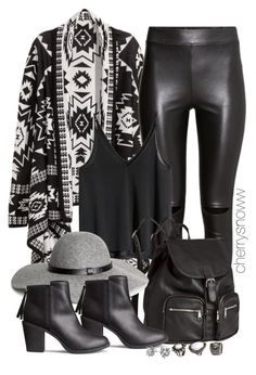 """Black edgy boho chic fall outfit"" by cherrysnoww ❤ liked on Polyvore featuring moda i H&M"