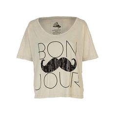 cream bonjour print t-shirt - t-shirts - tops - women - River Island (62 BRL) ❤ liked on Polyvore featuring tops, t-shirts, shirts, blusas, river island, print tees, patterned tops, cream top and tee-shirt