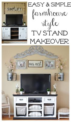 Easy and Simple Farmhouse Style TV Stand Makeover. Great ideas for TV stand decor.
