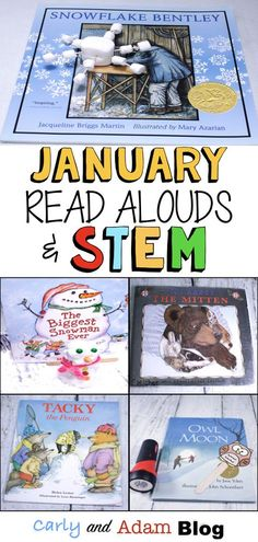 January STEM Read Alouds (Owl Moon Light and Shadows STEM Investigation, The Mitten Winter Habitat, Tacky the Penguin Disguise, Snowflake […] Library Activities, Preschool Activities, Winter Stem Activities For Kids, Steam Activities, Tacky The Penguin, Kindergarten Stem, Alphabet, Lectures, Snowflake Bentley