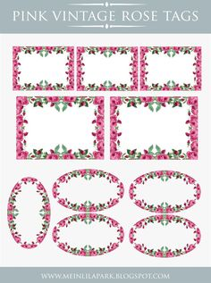 Free printable tags framed with wonderful pink vintage roses. They would be perfect as labels for DIY soaps, parfums or as embellishment tags for journaling books. Just download, print, cut and enjoy!