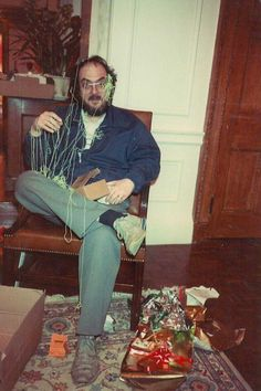 Stanley Kubrick covered in silly string by his daughter on Christmas, 1983.