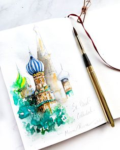 St Basil's Cathedral, Moscow, Russia watercolor painting sketchbook Watercolor Landscape Paintings, Watercolor Artwork, Quote Prints, Art Prints, Female Painters, Travel Sketchbook, Moscow Russia, Ink Art, Drawing S