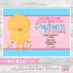 Chick : 193 ... Personalized Birthday Party Invitation OR Thank You Card ...Printable / Digital / You Print / DIY / jpg or pdf. $10.00, via Etsy.