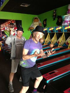 Sir Ian in purple this time. Playing my fave arcade game - skee ball!