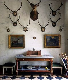 Sets of antlers are dsiplayed on the marbleised wall of the entrance hall ~ Chateau de Groussay, photo by Christopher Simon Sykes Design Entrée, House Design, Interior Inspiration, Design Inspiration, Trophy Rooms, Beautiful Interiors, Decoration, Interior Decorating, Sweet Home