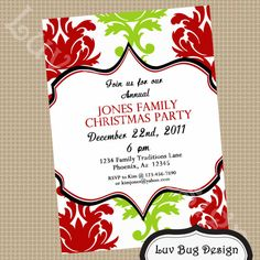CHRISTMAS Elegant Dinner Printable Party Invite by luvbugdesign, $14.00