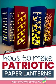 Are you ready to make some fun July 4th decor? Whether you choose the stars or the fireworks designs, make these paper luminaries in less than an hour, and they'll be the talk of your party. You can't go wrong with the printable step-by-step tutorial or the video tutorial to help you learn how to make paper lanterns that are perfect for your outdoor celebrations. Don't miss this cute addition to your Independence Day celebration. Grab your files right now! Diy Craft Projects, Crafts For Kids, Diy Party Crafts, Fireworks Design, Battery Operated Tea Lights, Patriotic Party, Paper Lanterns, How To Make Paper, July 4th