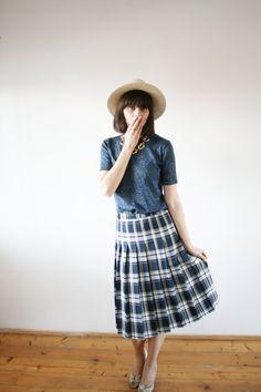 Pleated skirt Back to school Uniform checkered door selenefashion