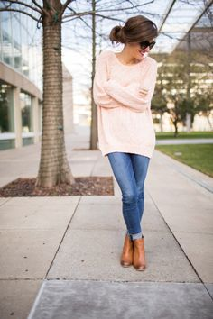 Cozy pale pink sweater + tan ankle boots. Love this color combo