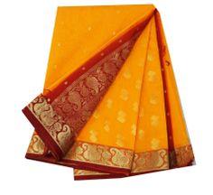 Vintage Saree Polyester Weaving India Sari Fabric Yellow Drape Women Dress Craft