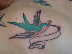 Old School style sparrow tattoo