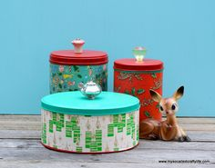 DIY Easy Upcycled Christmas Cannisters with vintage gift wrap and cabinet knobs | My So Called Crafty Life
