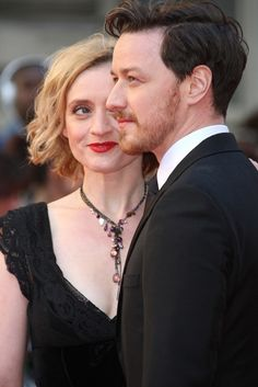 James McAvoy and his wife, actress Anne-Marie Duff on the red carpet of the 2012 Olivier Awards for London theater on April 15, 2012. Both have previously been nominated, James for Three Days of Rain (2010) and Anne-Marie for St. Joan (2008). James presented the Olivier for Best Revival to Anna Christie.