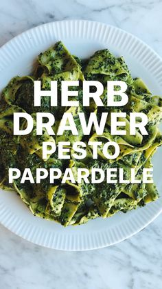 Pappardelle with Herb Drawer Pesto Parmesan Rind, Large Fries, Fresh Pasta, Dried Tomatoes, Test Kitchen, Williams Sonoma, Fresh Herbs, Healthy Cooking, Italian Recipes