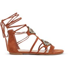ShoeDazzle Flat Sandals Delaney Womens Brown/Brown ❤ liked on Polyvore featuring shoes, sandals, flat sandals, boho sandals, brown lace up sandals, lace-up sandals and jeweled flat sandals