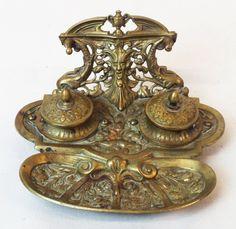 Circa late 1800s. German Art Nouveau bronze ink well : Lot 166