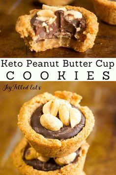 Peanut Butter Cup Cookies - Low Carb, Grain-Free, Gluten-Free. Keto, Sugar-Free, THM S - these are a match made in heaven. With a tender cookie crust, chocolate ganache filling, and the crunch of salty peanuts on top your cravings will be fulfilled. #sugarfree #keto #lowcarb #glutenfree #grainfree #thm #trimhealthymama #peanutbuttercookies