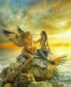 Angel & Mermaid. Angels. Mermaids. Fantasy art