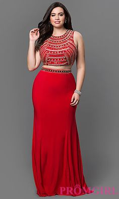 Two Piece Plus Dress with Beaded Bodice at PromGirl.com