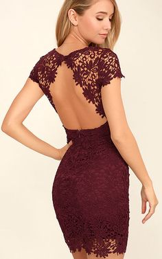 Hidden Talent Backless Burgundy Lace Dress via @bestchicfashion
