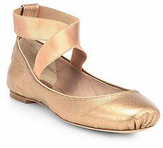 Chloé Metallic Leather Ballet Flats on shopstyle.com