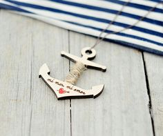 "Wood Laser Cut Pendant Anchor With The Inscription ""mi Mar, Mi Amor"""