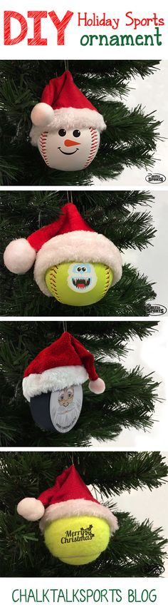 These adorable DIY holiday sports ball ornaments make the perfect holiday gift for any sports lover! Check out the baseball, softball, tennis and hockey ornaments we made! These DIY ornaments have cute mini Santa hats that are easily attachable.