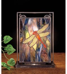 Stained glass dragonfly table top.