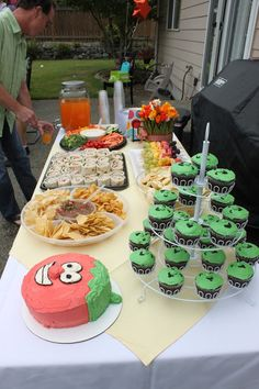 veggie tales birthday party.  bob the tomato cake.  food table decor