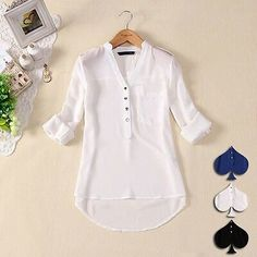 Womens Spring Summer V-neck Chiffon Long Sleeve Casual elegant Shirt Blouse Tops Blouse Styles, Blouse Designs, Chiffon Shirt, Chiffon Tops, White Chiffon, Sheer Chiffon, White Cotton, Chemises Sexy, Shirt Blouses
