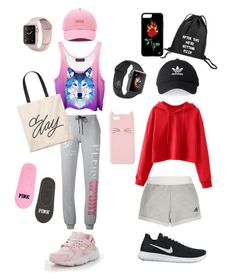 """Pink or black?"" by katenokm10 on Polyvore featuring мода, adidas, Plein Sport, NIKE, Vans и Charlotte Russe"