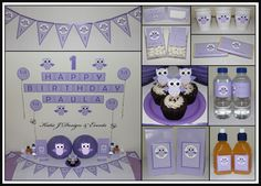Owls Owl Personalised Birthday Party Decorations Supplies Packs Shop Online Australia Banners Bunting Wall Display Cupcake Toppers Chocolate Wrappers Juice Water Pop Top Labels Posters Lanterns Invites Cup Stickers Ideas Inspiration Cake Table Katie J Design and Events First Birthday Baby Shower Girl Girls Purple