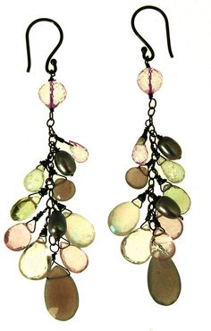 Grapevine style earrings made with Rose Quartz, Green Amethyst and Smokey Quarts and Oxidized Sterling Silver