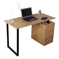 Techni Mobili Computer Desk with Storage and File Cabinet
