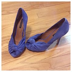 Zara Blue Suede Peep Toe Heels Beautiful cobalt blue suede heels by Zara Woman. Size is Euro 40, but fit like a US size 9. In excellent condition. Only worn once! Zara Shoes Heels