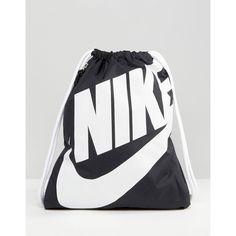 Nike Heritage Drawstring Backpack (€15) ❤ liked on Polyvore featuring bags, backpacks, black, knapsack bag, day pack backpack, backpack bags, draw string backpack and drawstring backpack bags