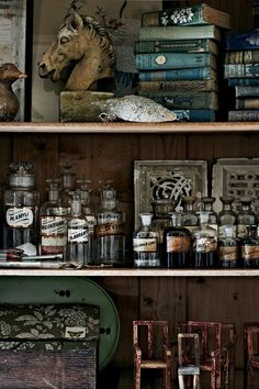 Apothecary bottles and vintage books (Photo: Sharyn Cairns, HomeLife) Apothecary Bottles, Bottles And Jars, Apothecary Pharmacy, Apothecary Bathroom, Apothecary Decor, Mason Jars, Perfume Bottles, Curiosity Cabinet, Curiosity Shop