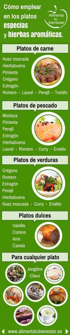 Cómo emplear hierbas aromáticas y especias en tus platos #cocina #saludable #bienestar #infografia