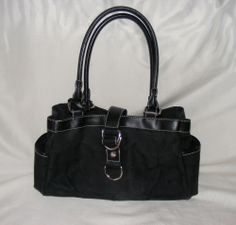 Chaps Black Monogram Handbag, Double Strap Hobo bag, 3-Compartment