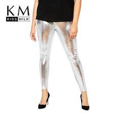 80b074eef44aa MissKoKo Plus Size Women New Fashion Big Large Size High Waist Highlight  Solid Black Punk Style Leggings Summer Slim Leggings