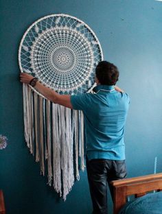 Giant dreamcatcher, boho wall hanging large, boho wedding photo backdrop, large dream catcher, crochet dreamcatcher, bedroom wall hanging