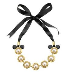 Disney Couture Minnie Mawi Faux Pearl Ribbon Necklace