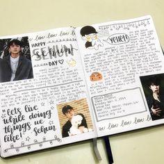 Oh Sehun kpop journal spread Bullet Journal Notes, Bullet Journal Ideas Pages, Journal Prompts, Bullet Journal Inspiration, Book Journal, Exo Birthdays, Kpop, Scrapbooks, Calendar Journal