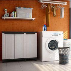 Nízká plastová skříň Terry TwistBlack s policemi a možnosti uzamykání je ideálním řešením pro vaši dílnu, sklad nebo zahradu. Zvýšené nohy skříňky vám umožní snadnější úklid podlahy. Door Curtains, Door Design, Washing Machine, Police, Floor Cleaning, Home Appliances, Shelves, Flooring, Doors