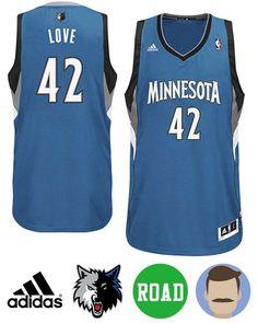 8046331f952 Sport this Men s Adidas Minnesota Timberwolves  42 Kevin Love Blue Revolution  30 Swingman Road Jersey