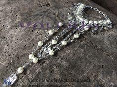 Maxicollar de perlas sintéticas y cristal checo by Valeria Brax&Collare Art