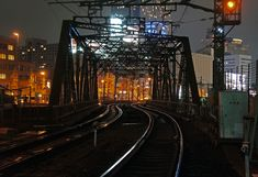 夜散歩のススメ「八ツ山路線線路橋と光る線路」